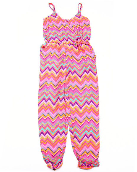 Dollhouse - Girls Pink Chevron Print Jumpsuit (4-6X)