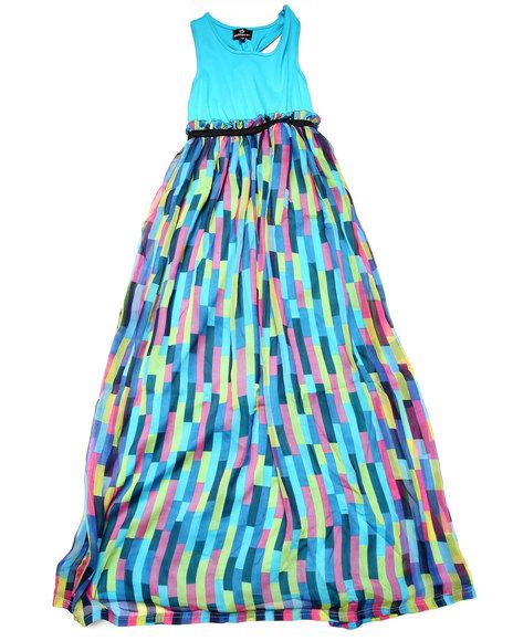 Dollhouse - Girls Blue Jersey & Printed Chiffon Dress (7-16)