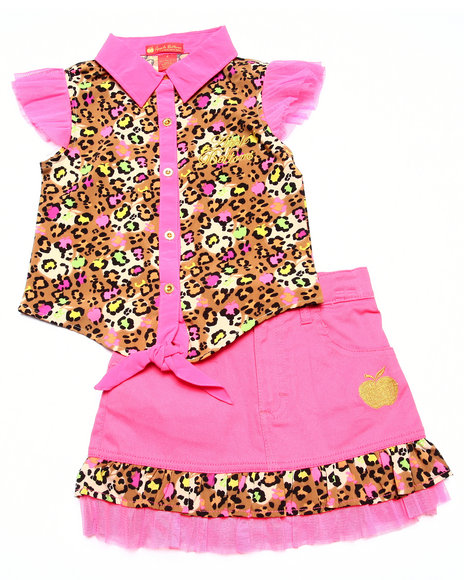 Apple Bottoms - Girls Pink 2 Pc Skirt Set (4-6X)