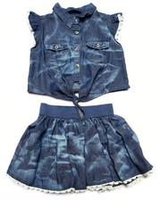 Sizes 4-6x - Kids - 2 PC SET - ACID WASH TIE FRONT TOP & SKIRT (4-6X)