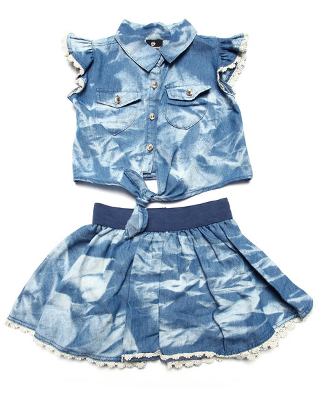 Dollhouse - Girls Light Wash 2 Pc Set - Acid Wash Tie Front Top & Skirt (4-6X)