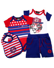 Sets - 4 PC SET - AMERICANA BODYSUITS, SHORTS, & BIB (NEWBORN)