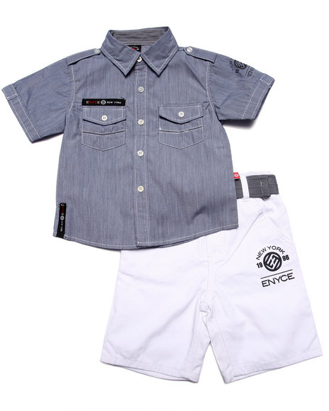 Enyce - Boys Blue 2 Pc Chambray Woven & Short Set (4-7)