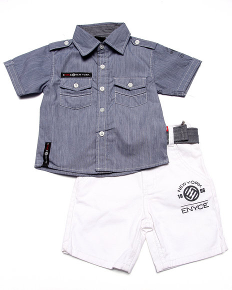 Enyce - Boys Blue 2 Pc Chambray Woven & Short Set (2T-4T)
