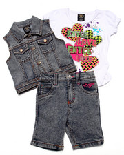 Girls - 3 PC VEST & BERMUDAS SET (2T-4T)