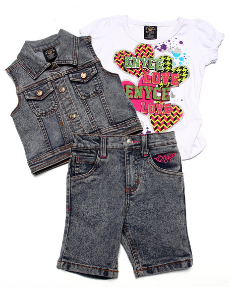 Enyce - Girls Light Wash 3 Pc Vest & Bermudas Set (2T-4T) - $22.99
