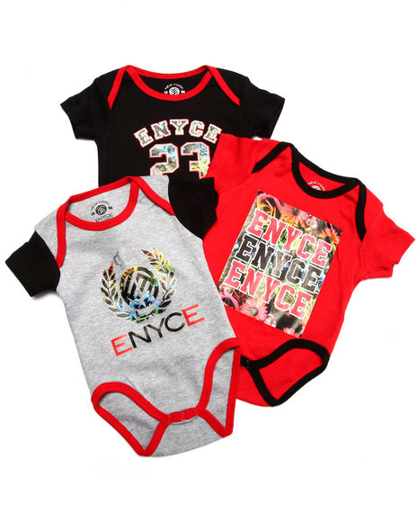 Enyce - Boys Red 3 Pack Bodysuits (Newborn) - $10.99