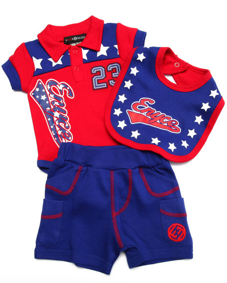 Enyce - Boys Red 3 Pc Set - Polo, Shorts, & Bib (Newborn) - $9.99