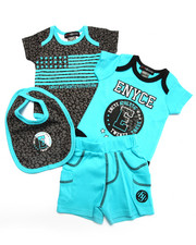 Enyce - 4 PC SET - LEOPARD BODYSUITS, SHORTS, & BIB (NEWBORN)