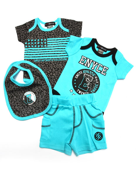 Enyce - Boys Blue 4 Pc Set - Leopard Bodysuits, Shorts, & Bib (Newborn)
