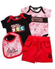 Sets - 4 PC SET - PAISLEY BODYSUITS, SHORTS, & BIB (NEWBORN)