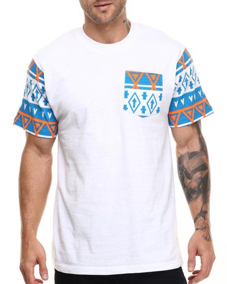 Ur-ID 217103 Basic Essentials - Men Turquoise,White Aztec - Print Pocket S/S Tee