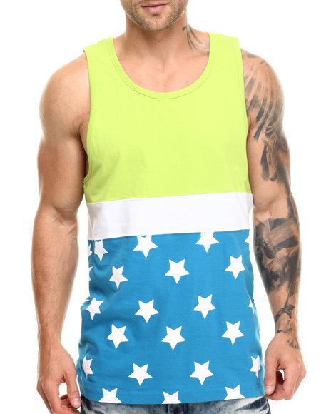 Ur-ID 217012 Basic Essentials - Men Green,Turquoise Star - Print Tank Top