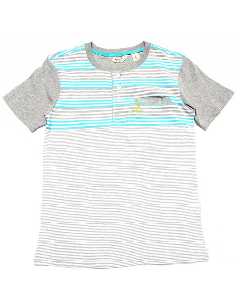 Original Penguin - Boys Grey Striped Henley (8-20)