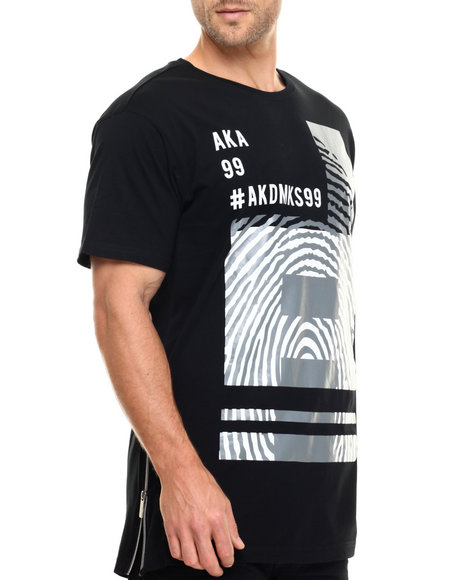 Ur-ID 217101 Akademiks - Men Black Booking E-Longated Side Zipper S/S Tee