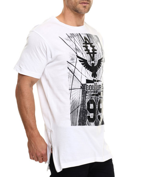 Akademiks - Men White Eagle E-Longated Side Zipper S/S Tee