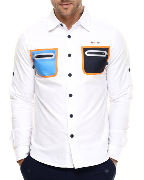 Born Fly - Men White Raphael L/S Button-Down - $67.99