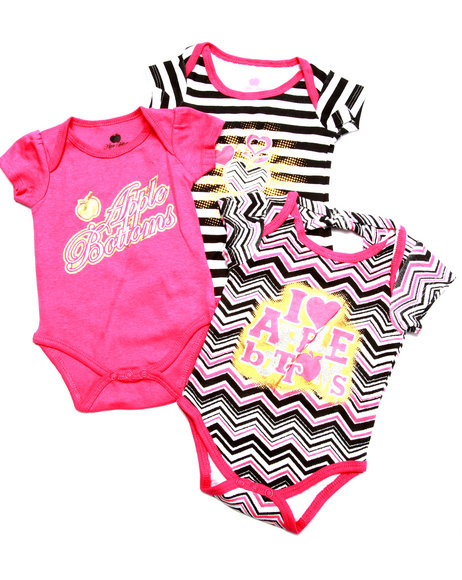 Apple Bottoms - Girls Multi 3 Pack Bodysuits Set (Newborn) - $7.99