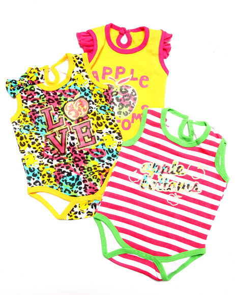 Apple Bottoms - Girls Multi 3 Pack Bodysuits Set (Newborn)