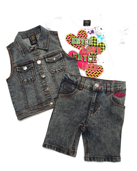 Enyce - Girls Light Wash 3 Pc Vest & Bermudas Set (4-6X) - $11.99