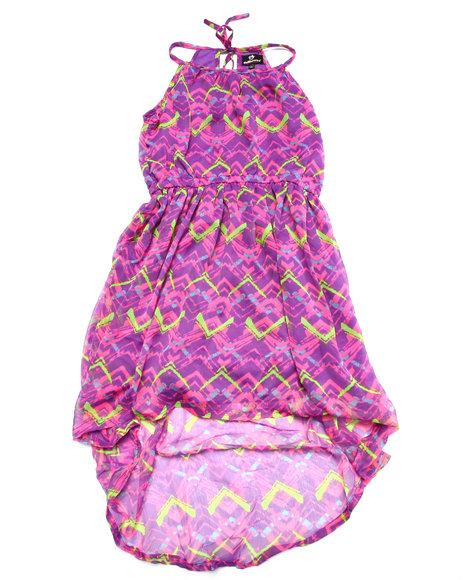 Dollhouse - Girls Purple Aztec Printed Chiffon Hi-Lo Dress (7-16) - $28.00
