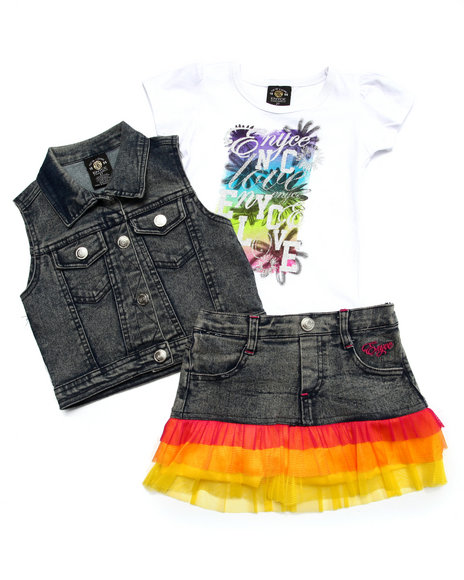 Enyce - Girls Medium Wash 3 Pc Vest & Skirt Set (2T-4T) - $17.99