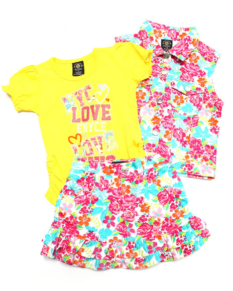 Enyce - Girls Multi 3 Pc Floral Vest & Skirt Set (4-6X) - $14.99
