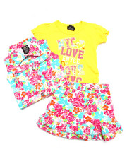 Girls - 3 PC FLORAL VEST & SKIRT SET (2T-4T)
