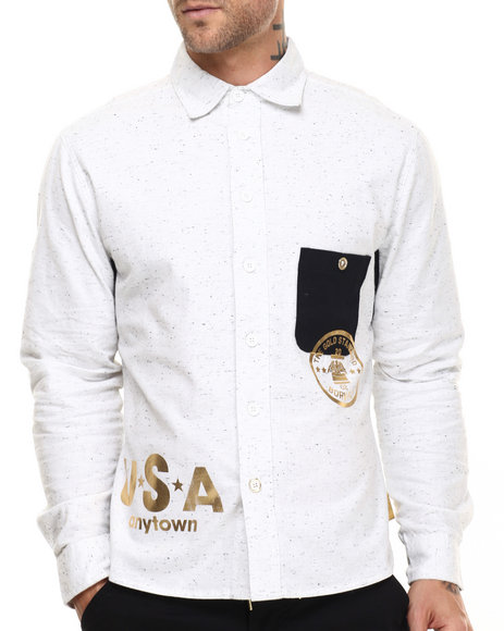 Ur-ID 217109 Born Fly - Men White Trok L/S Button-Down