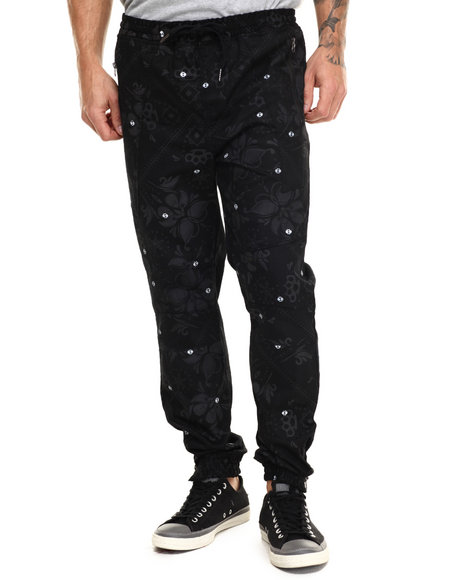 Buyers Picks - Men Black Floral / Bandana Print Twill Joggers