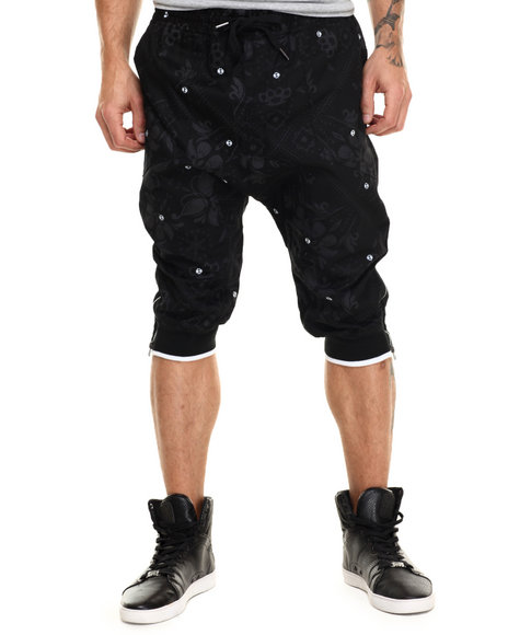 Buyers Picks - Men Black Floral / Bandana Print Twill Jogger Shorts