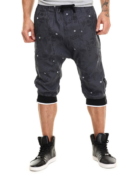 Buyers Picks - Men Grey Floral / Bandana Print Twill Jogger Shorts