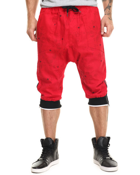 Buyers Picks - Men Red Floral / Bandana Print Twill Jogger Shorts