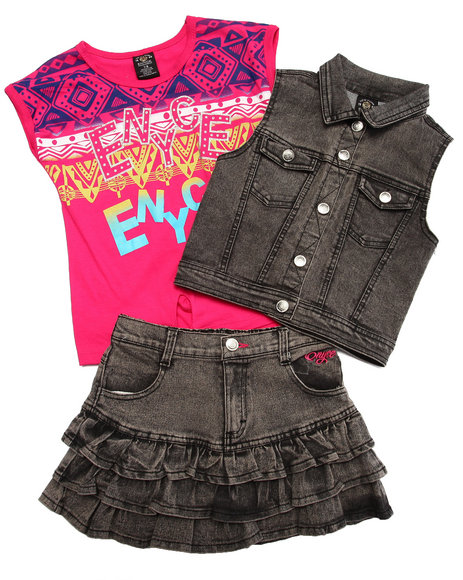 Enyce - Girls Black 3 Pc Vest & Skirt Set (7-16)