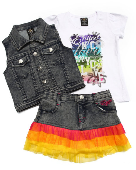 Enyce - Girls Medium Wash 3 Pc Vest & Skirt Set (4-6X) - $16.99