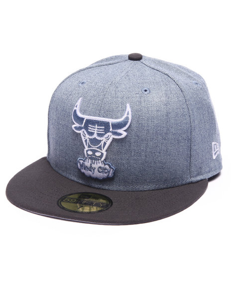 New Era - Men Light Blue Chicago Bulls Heather 2Tone League Basic 5950 Fitted Hat