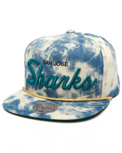Mitchell & Ness Men San Jose Sharks Nhl Blue Acid Wash Snapback Black