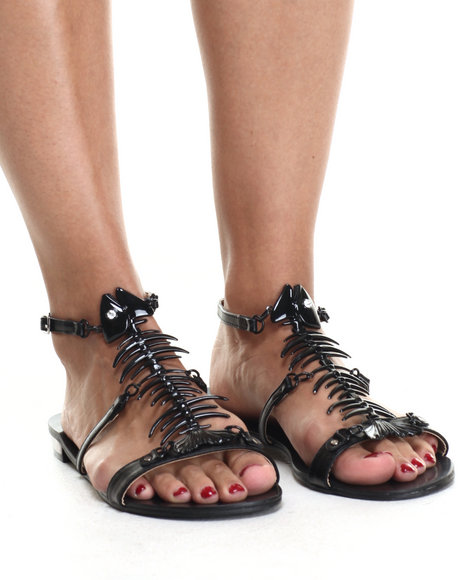 Ur-ID 216764 Fashion Lab - Women Black Bonefish Strappy Sandals