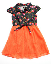 Girls - FLORAL CHAMBRAY DRESS (4-6X)