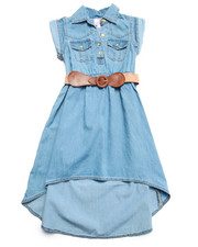 Girls - BELTED CHAMBRAY DRESS (7-16)
