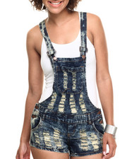 Women - Antique Overall Shorts w/Destuction