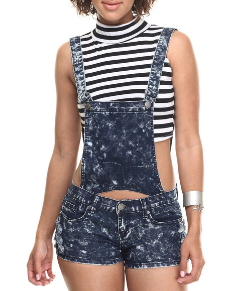 Basic Essentials - Women Dark Wash Bib Detail Short Overall