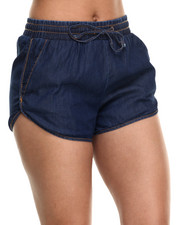 Women - Denim Track Shorts W/drawstring