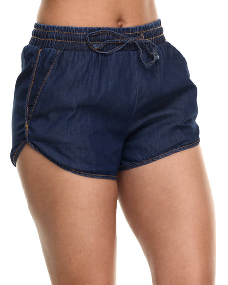Basic Essentials - Women Dark Blue Denim Track Shorts W/Drawstring