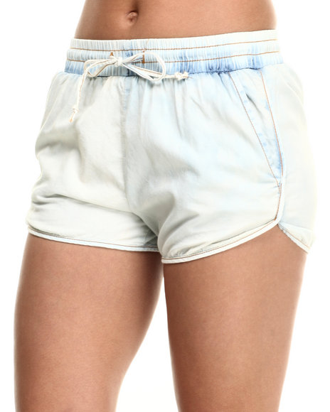 Basic Essentials - Women Light Wash Light Denim Track Short