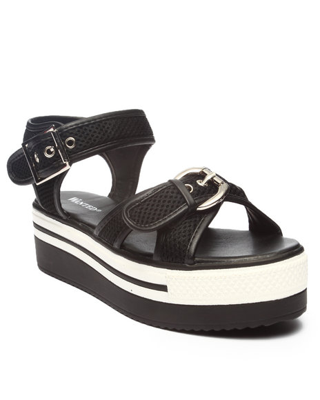 Fashion Lab - Women Black Portico Sporty Buckle Sandals