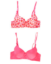Girls - Floral Solid 2Pk Bra Set