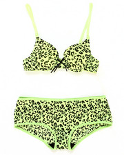 Girls - Neon Leopard Bra Short Set