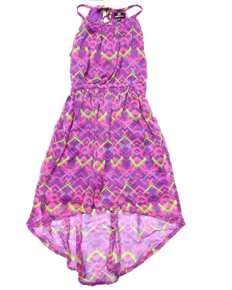 Dollhouse - Girls Purple Aztec Printed Chiffon Hi-Lo Dress (7-16)