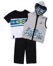 Sets - 3 PC SET - HOODED VEST, TEE, & JEANS (4-7)